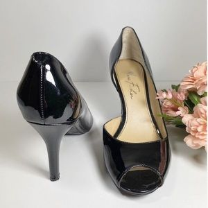 "Marc Fisher ""Joey"" Black Patent Peep Toe Pumps"